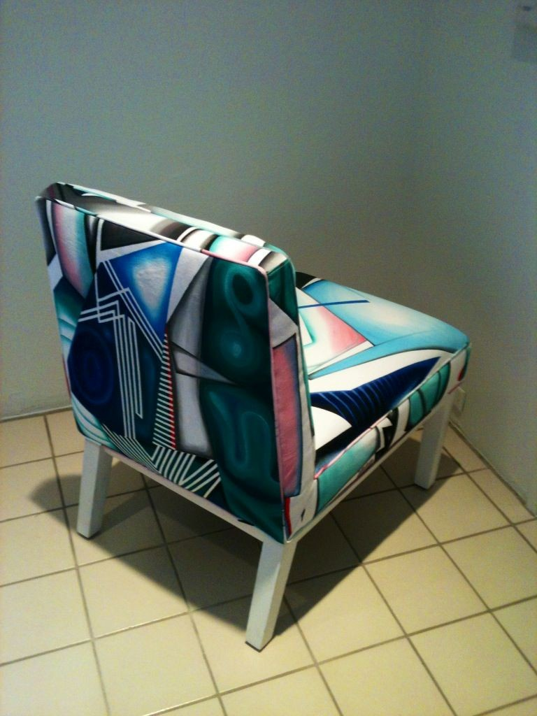2014 handpainted fabric upholstered chair